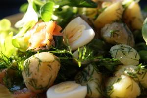 sałatka z ziemniakami, łososiem i koperkiem