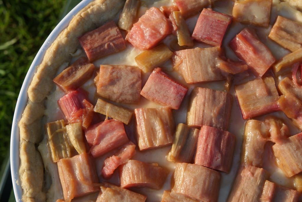 tarta z karmelizowanym rabarbarem i kremem budyniowym
